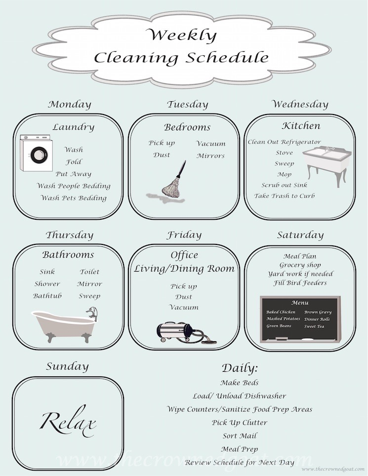 Daily-Cleaning-Schedule-100615-8 10 Tips for a More Organized Life Organization