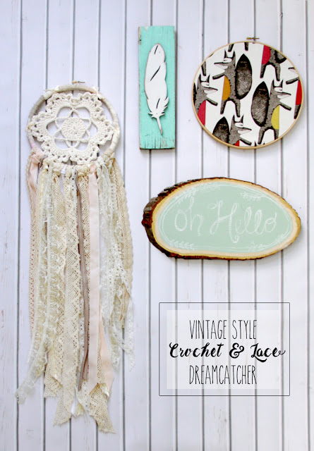 Vintage-Style-Crochet-and-Lace-Dreamcatcher Something to Talk About Link Party #40 LinkParty