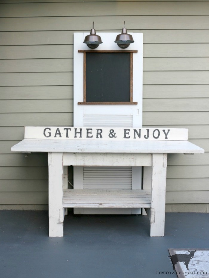 Create-an-Outdoor-Serving-Station-The-Crowned-Goat-9 How to Create an Outdoor  Serving Station Decorating DIY Painted Furniture Thrifted Finds