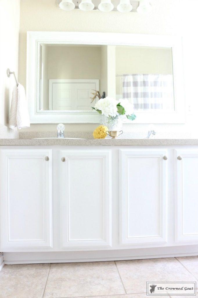 Budget-Friendly-Bathroom-Makeover-4-682x1024 Budget Friendly Bathroom Makeover Reveal  Decorating DIY Painted Furniture