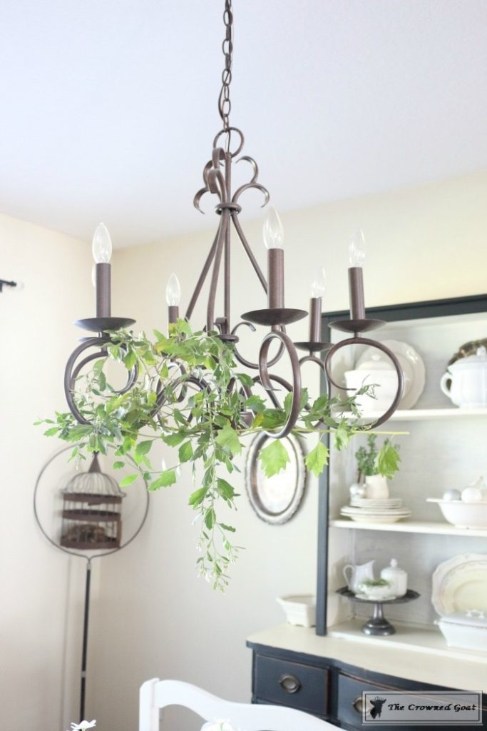 Simple-Holiday-Chandelier-with-Greenery-4-683x1024 Adding Holiday Greenery to Simple Chandeliers Christmas DIY Holidays