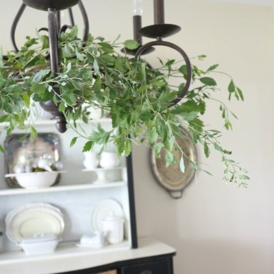 Adding Holiday Greenery to Simple Chandeliers