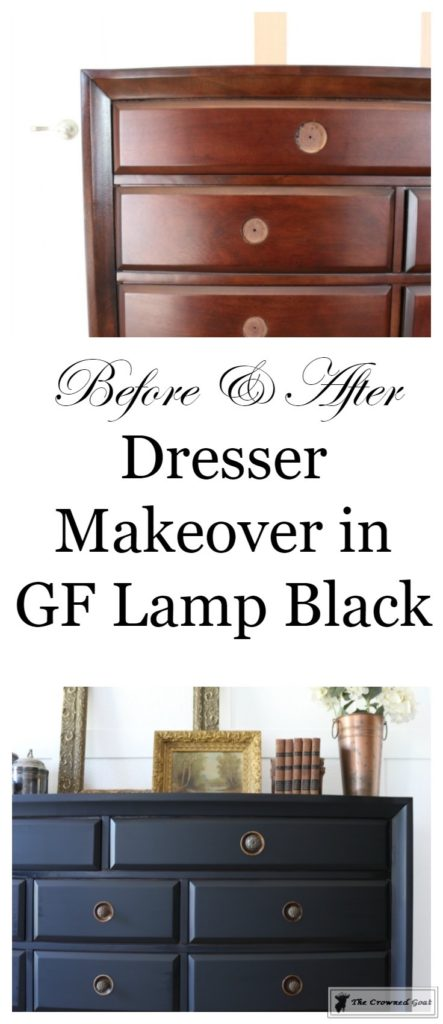 Lamp-Black-Painted-Dresser-1-443x1024 Painted Dresser in General Finishes Lamp Black DIY One_Room_Challenge Painted Furniture