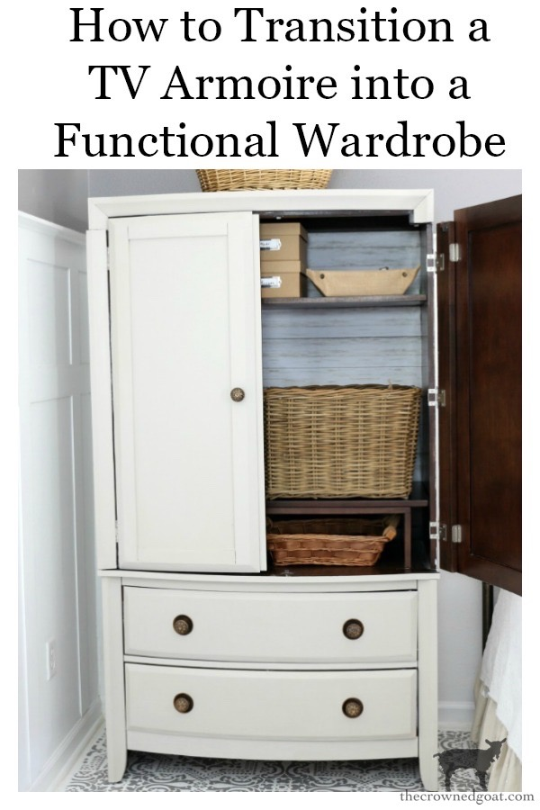 TV-Armoire-Functional-Wardrobe-Makeover-The-Crowned-Goat-19 TV Armoire to Functional Wardrobe Makeover DIY One_Room_Challenge Painted Furniture