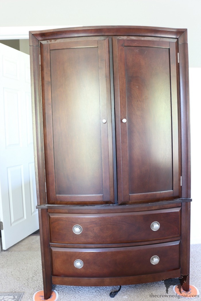 TV-Armoire-Functional-Wardrobe-Makeover-The-Crowned-Goat-3 TV Armoire to Functional Wardrobe Makeover DIY One_Room_Challenge Painted Furniture