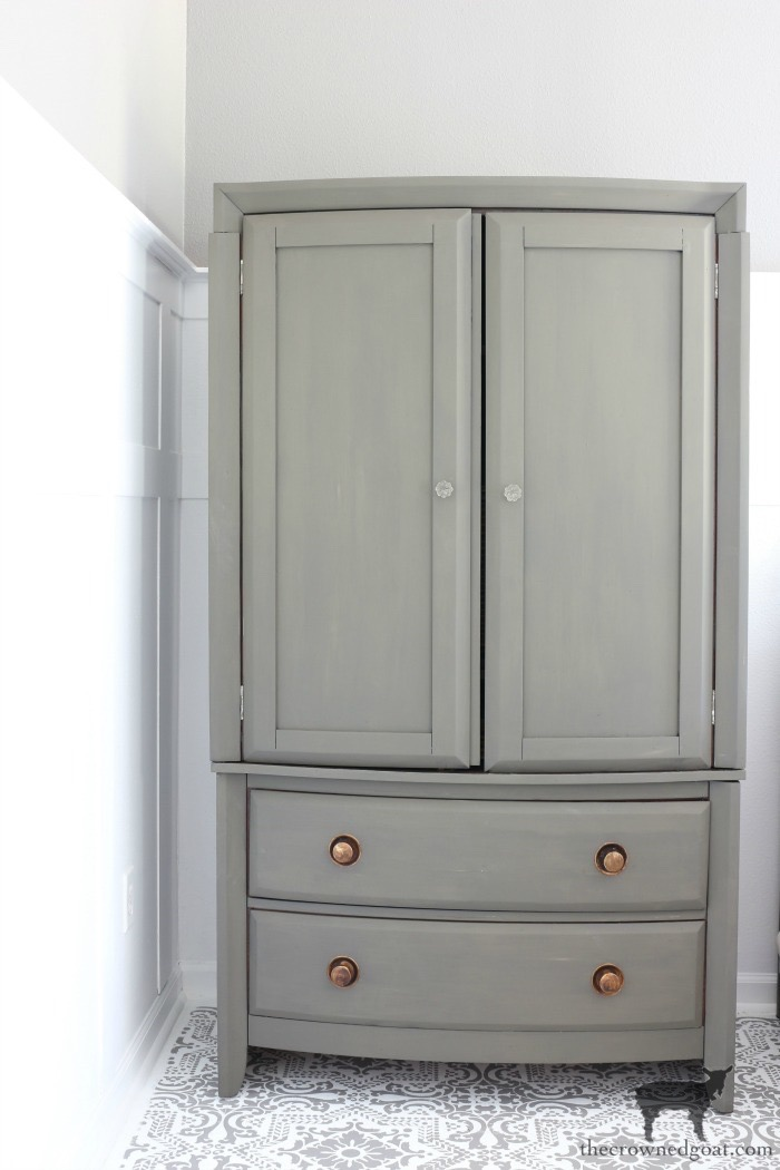 TV-Armoire-Functional-Wardrobe-Makeover-The-Crowned-Goat-4 TV Armoire to Functional Wardrobe Makeover DIY One_Room_Challenge Painted Furniture