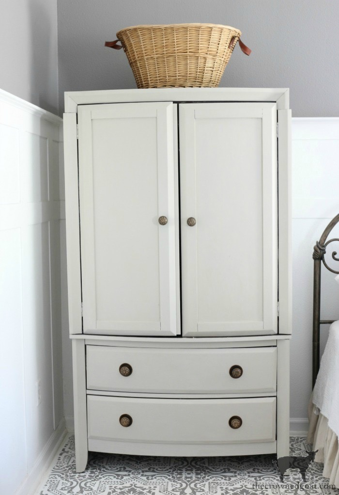 TV-Armoire-Functional-Wardrobe-Makeover-The-Crowned-Goat-9 TV Armoire to Functional Wardrobe Makeover DIY One_Room_Challenge Painted Furniture
