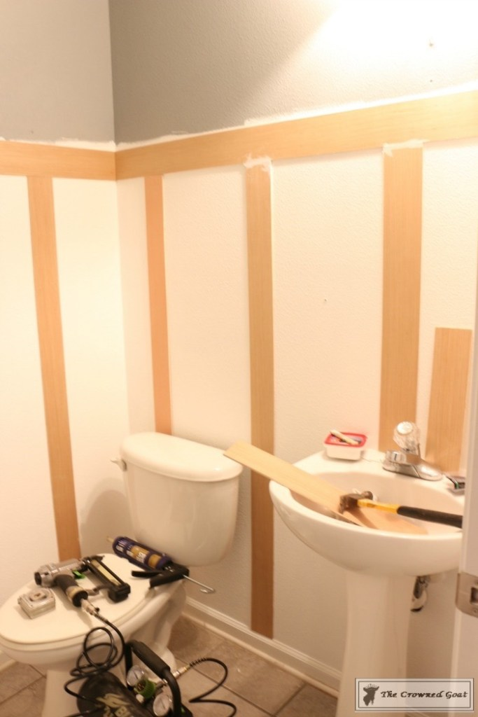 Adding Board and Batten to the Half Bathroom-4