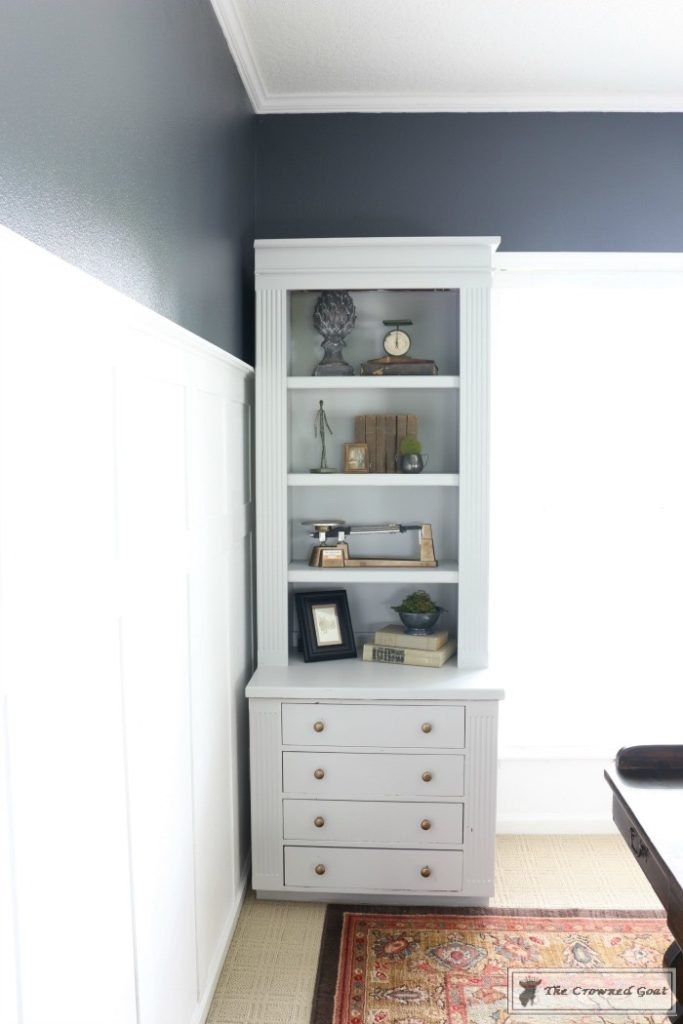 Painted-Bookcases-in-GF-Seagull-Gray-The-Crowned-Goat-11-683x1024 Before and After: Painted Office Bookcases in Seagull Gray Decorating DIY