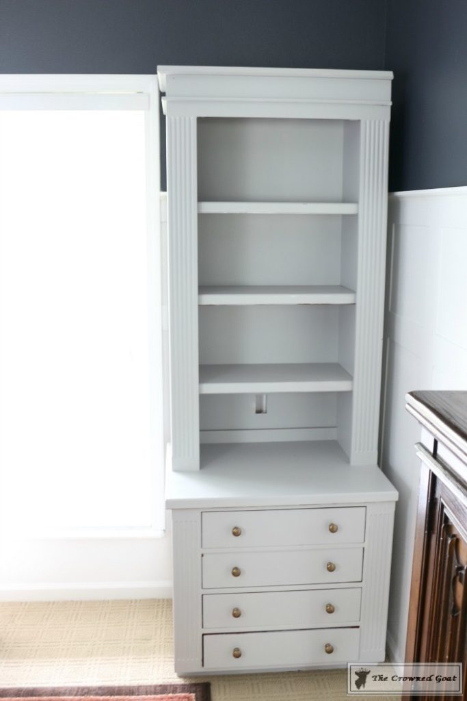 Painted-Bookcases-in-GF-Seagull-Gray-The-Crowned-Goat-6-683x1024 Before and After: Painted Office Bookcases in Seagull Gray Decorating DIY