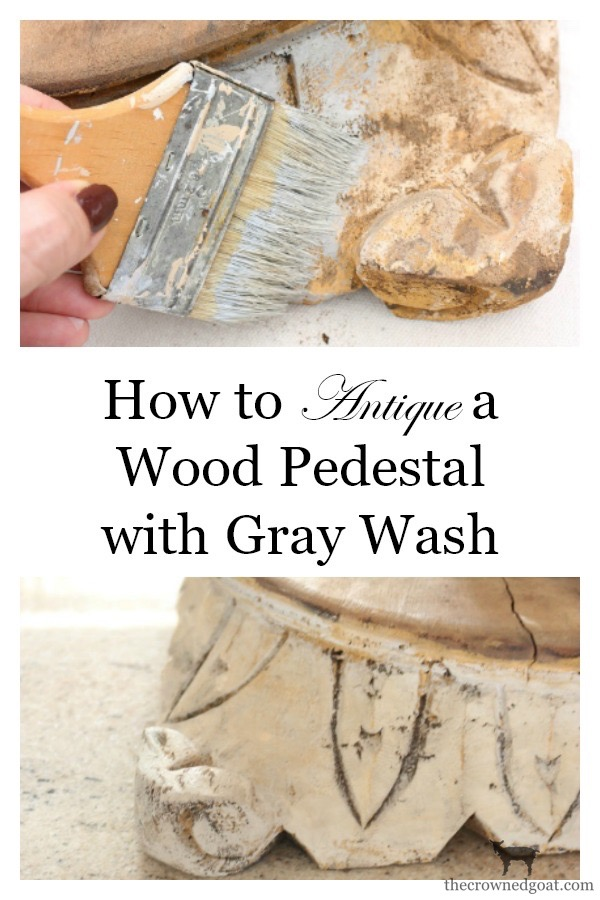 "DIY-Antique-Wooden-Pedestal-The-Crowned-Goat-4 ""Antique"" Wood Pedestal Makeover DIY"