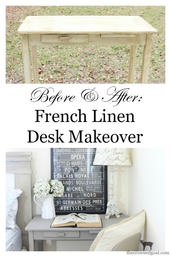 French-Linen-Desk-Makeover-The-Crowned-Goat-11 French Linen Desk Makeover Painted Furniture