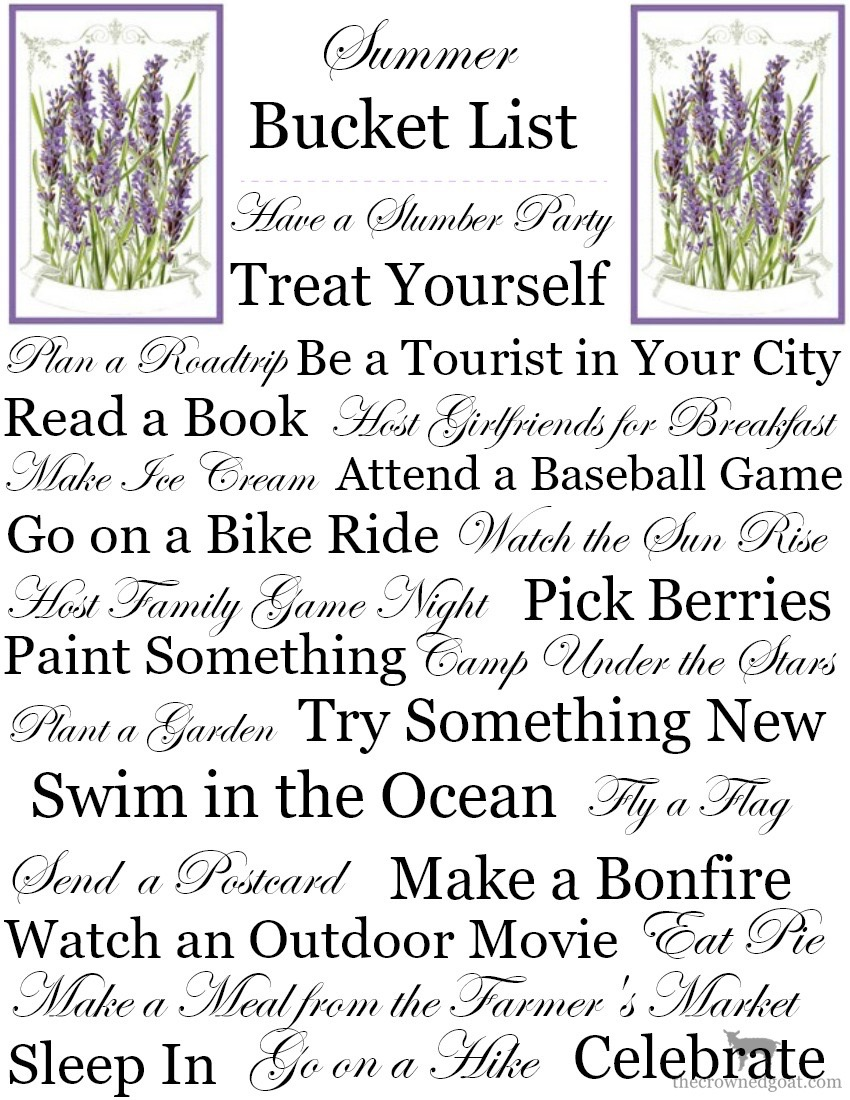 Printable-Summer-Bucket-List-The-Crowned-Goat-1 Summer Bucket List and Free Printables Organization Summer