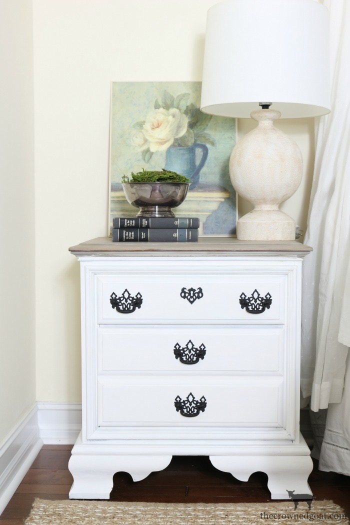 French-Linen-and-Pure-White-Painted-Nightstands-The-Crowned-Goat-16 Loblolly Manor: Guest Bedroom Nightstands Decorating Loblolly_Manor Painted Furniture