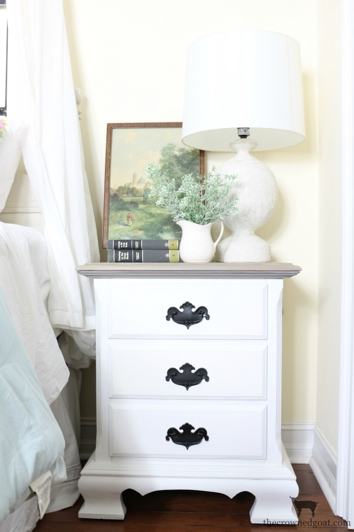 French-Linen-and-Pure-White-Painted-Nightstands-The-Crowned-Goat-18 Loblolly Manor: Guest Bedroom Nightstands Decorating Loblolly_Manor Painted Furniture