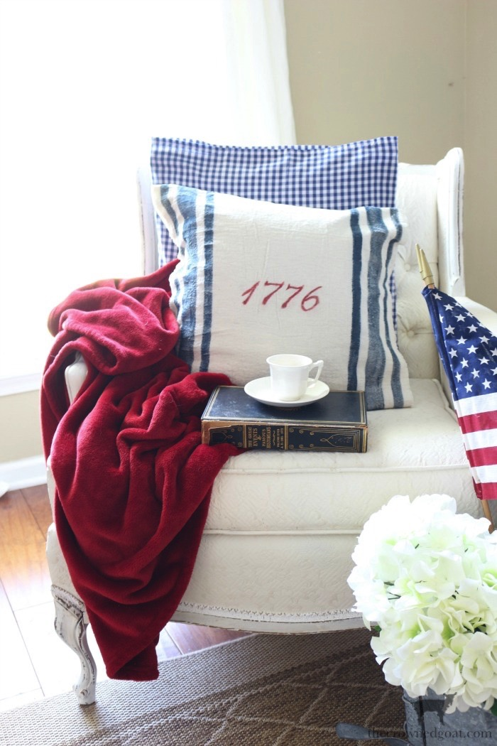 Patriotic-Grain-Sack-Table-Runner-The-Crowned-Goat-1 Patriotic Inspired Grain Sack Table Runner Decorating DIY Summer