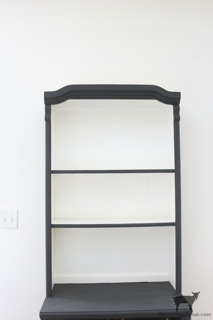 Graphite-Hutch-Makeover-The-Crowned-Goat-4 French Linen Hutch Makeover DIY Painted Furniture
