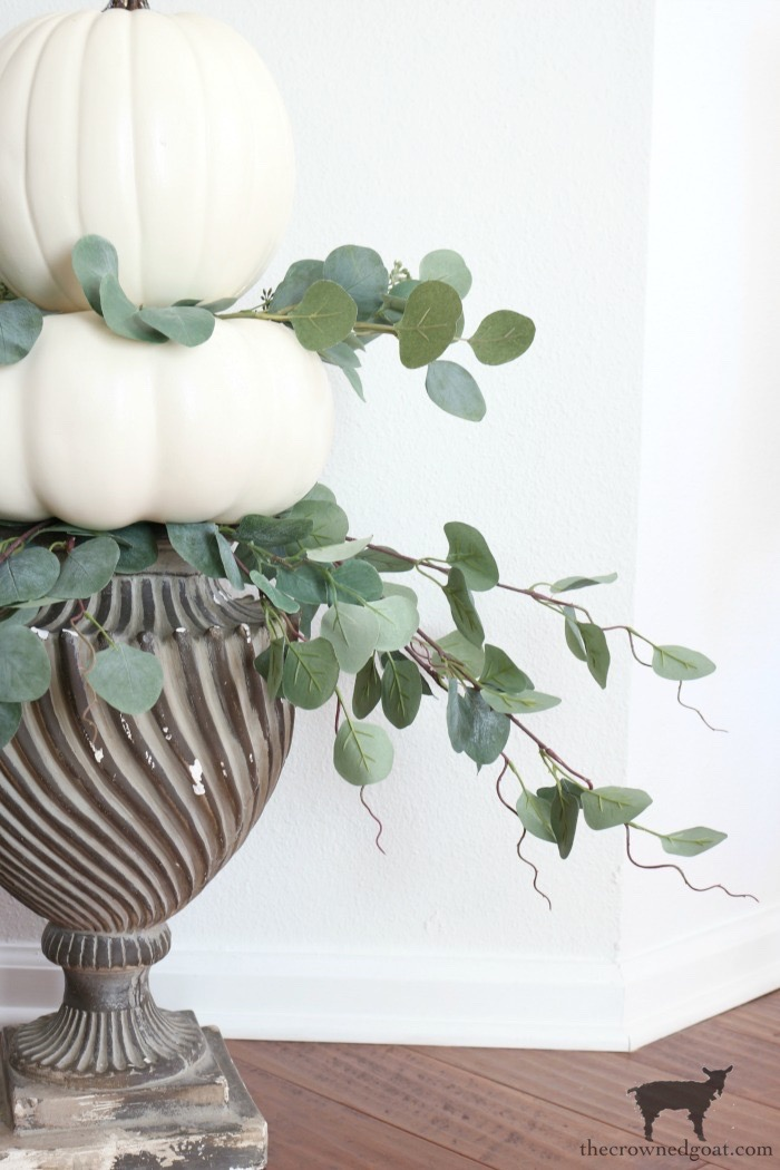 Simple-Stacked-Pumpkin-Topiary-The-Crowned-Goat-13 Simple Stacked Pumpkin Topiary with Eucalyptus Decorating DIY Fall