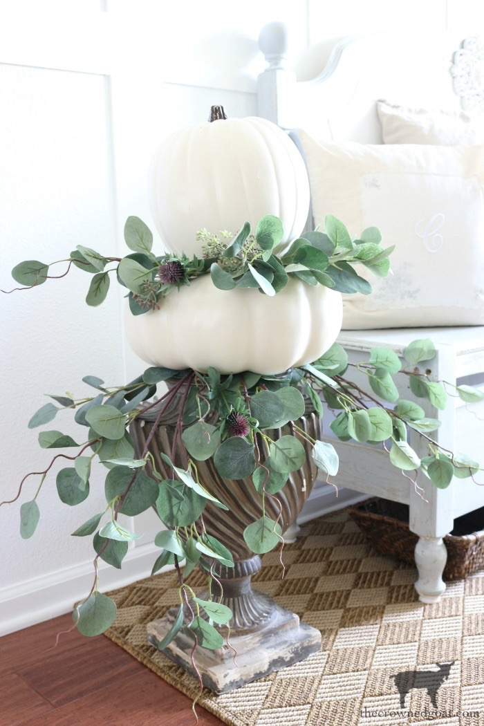 Simple-Stacked-Pumpkin-Topiary-The-Crowned-Goat-14 Simple Stacked Pumpkin Topiary with Eucalyptus Decorating DIY Fall