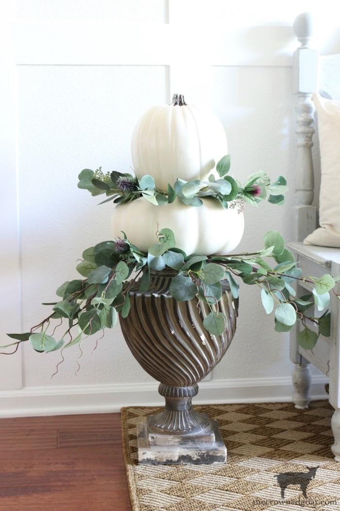 Simple-Stacked-Pumpkin-Topiary-The-Crowned-Goat-17 Simple Stacked Pumpkin Topiary with Eucalyptus Decorating DIY Fall