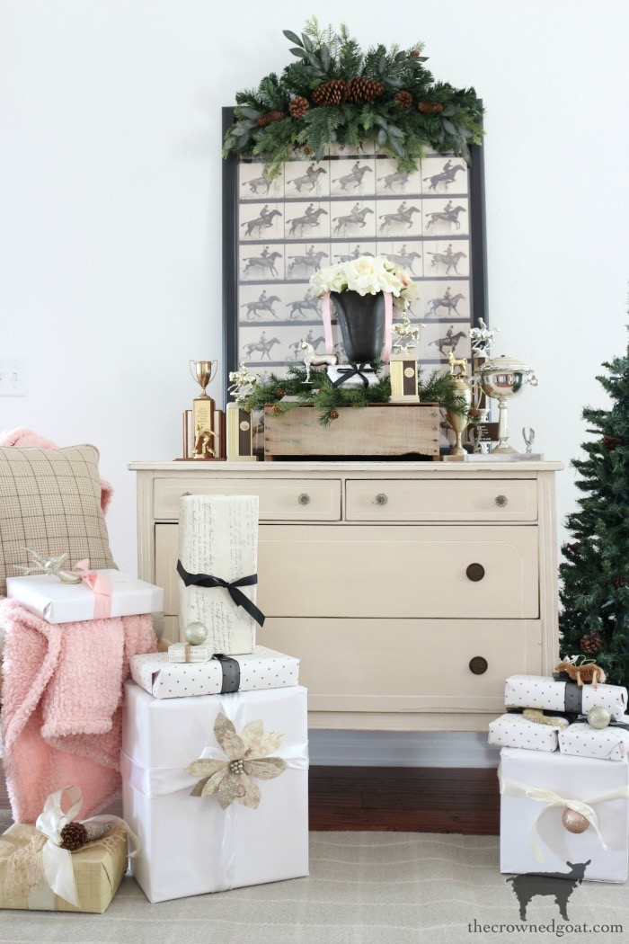 Vintage-Dresser-Wrapping-Station-The-Crowned-Goat-14-1 Easy Vintage Dresser Gift Wrap Station Christmas Holidays