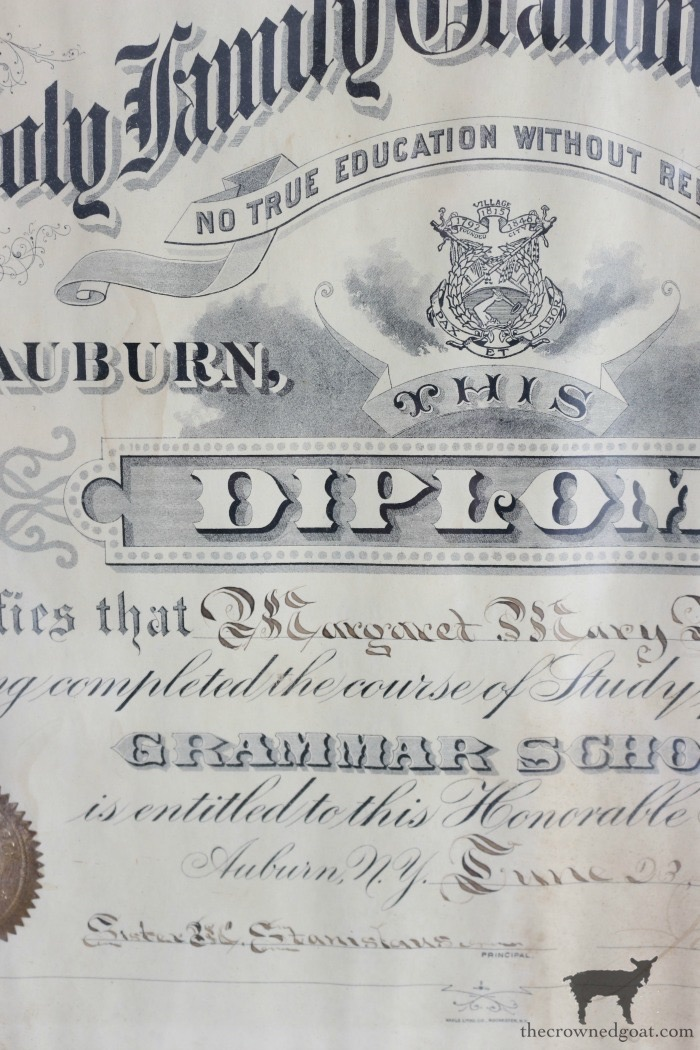 Antique-Grammar-School-Diploma-The-Crowned-Goat-19 Latest Finds from the Treasure Trail Decorating Thrifted Finds