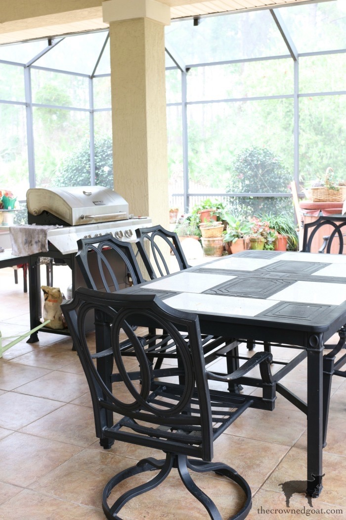 Bliss-Barracks-Lanai-Makeover-Plans-The-Crowned-Goat-3-1 Outdoor Hutch & Buffet in French Linen Decorating DIY Painted Furniture