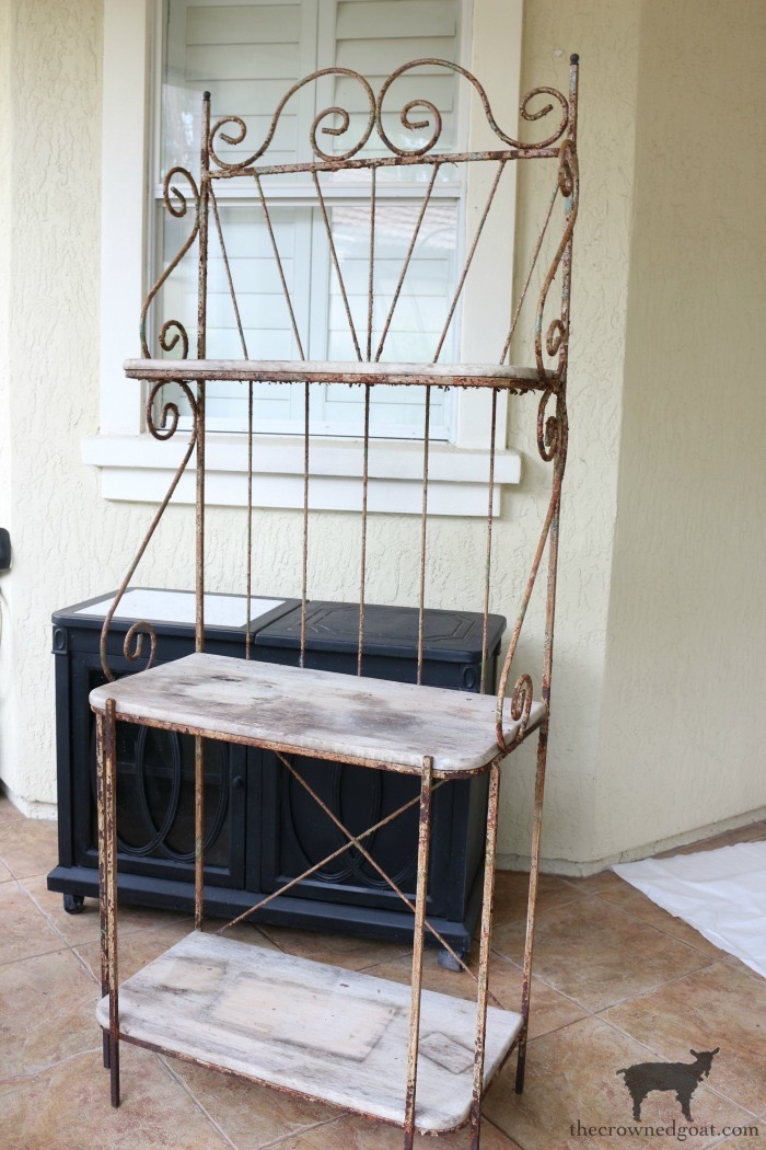 French-Farmhouse-Bakers-Rack-Makeover-The-Crowned-Goat-1 French Farmhouse Style Baker's Rack Makeover Decorating DIY Painted Furniture