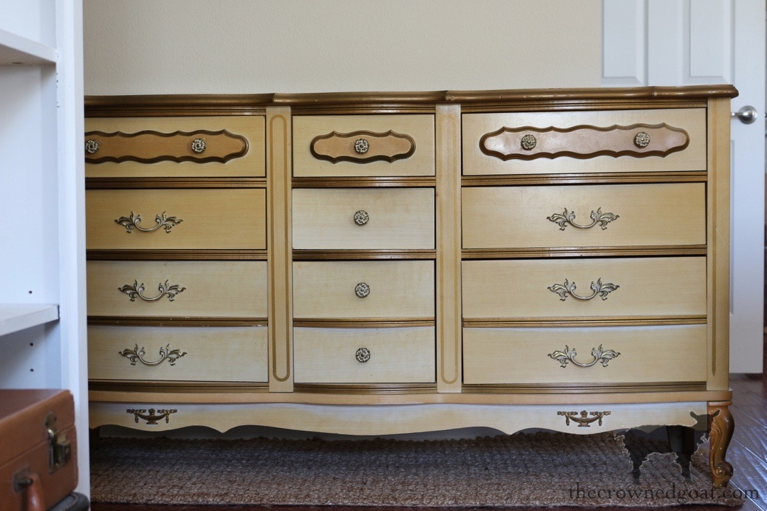 Gold-Accents-French-Country-Dresser-The-Crowned-Goat-1 Adding Gold Accents to a French Farmhouse Dresser Decorating One_Room_Challenge Painted Furniture