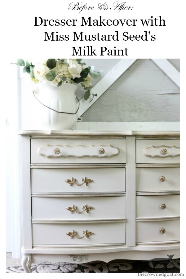 Miss-Mustard-Seed-Milk-Paint-Marzipan-Dresser-Makeover-The-Crowned-Goat-17 Miss Mustard Seed Milk Paint Dresser Makeover in Marzipan Decorating DIY Painted Furniture