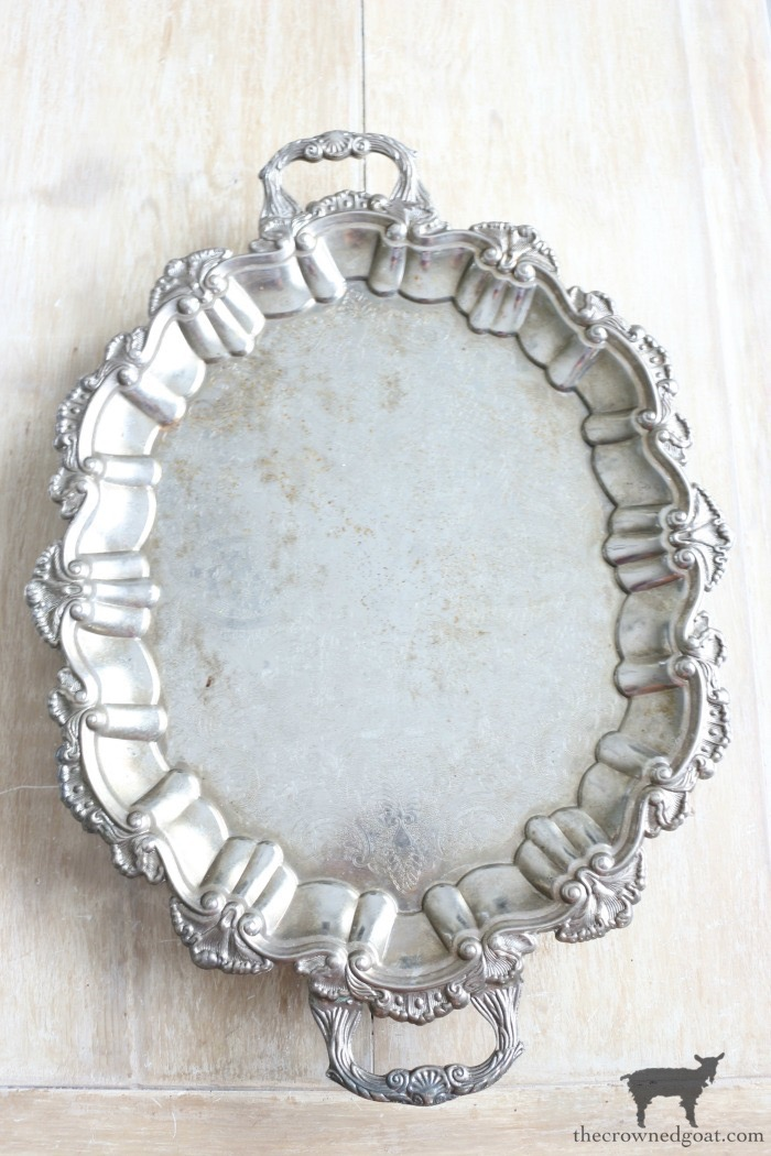 How-to-Paint-and-Age-Silver-Plate-Serving-Tray-The-Crowned-Goat-2 Easily Paint and Age a Silver Serving Tray Crafts Decorating DIY