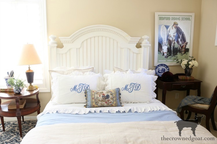Blue-and-White-Guest-Bedroom-Refresh-The-Crowned-Goat-3 Blue and White Guest Bedroom Refresh Bliss Barracks Decorating DIY