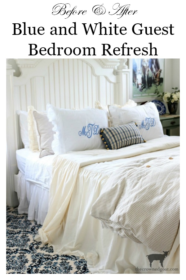 Blue-and-White-Guest-Bedroom-Refresh-The-Crowned-Goat Blue and White Guest Bedroom Refresh Bliss Barracks Decorating DIY