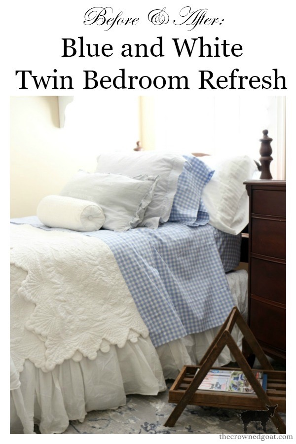 Blue-and-White-Twin-Bedroom-Refresh-The-Crowned-Goat-16 Blue and White Twin Bedroom Refresh Bliss Barracks Decorating