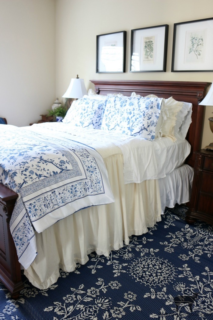 Blue-and-White-Bedroom-Refresh-The-Crowned-Goat-3 Blue and White Bedroom Refresh Bliss Barracks Decorating