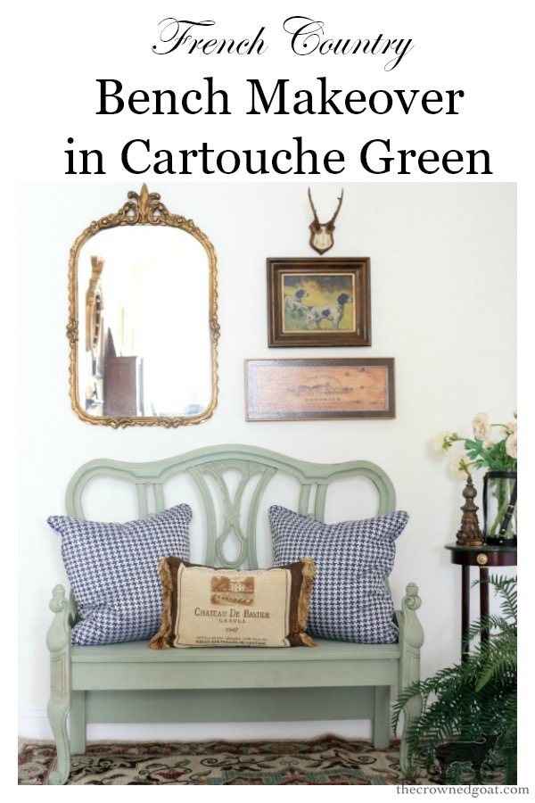 French-Country-Bench-Makeover-in-Cartouche-Green-The-Crowned-Goat-16 French Country Bench Makeover in Cartouche Green Bliss Barracks Decorating DIY Painted Furniture