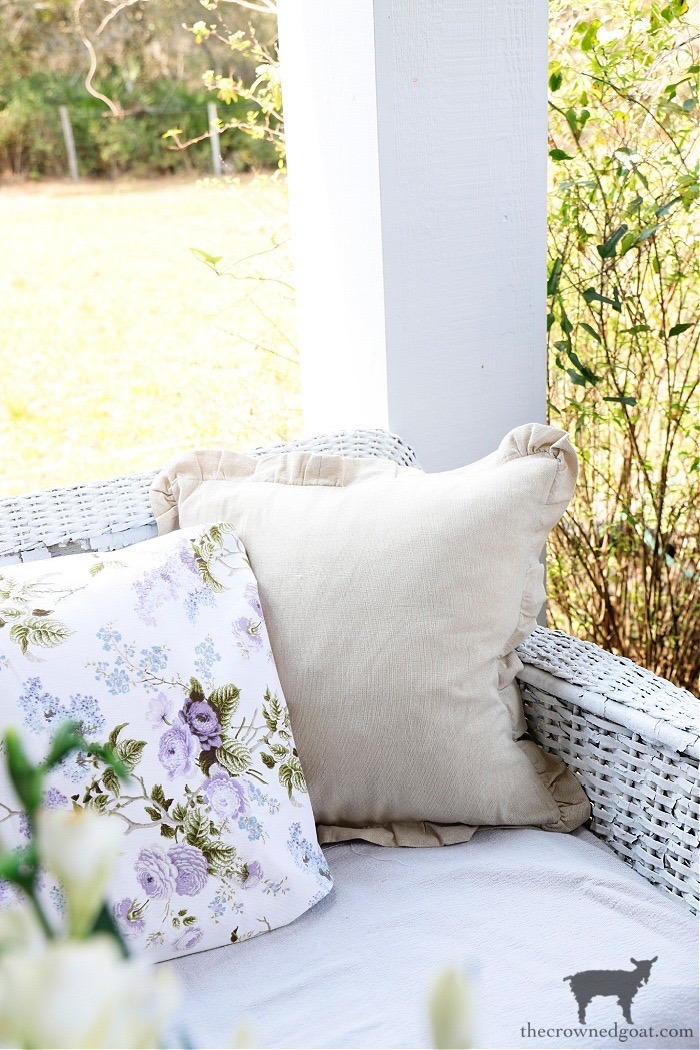 Spring-Porch-Pillows-The-Crowned-Goat Spring Flowers Porch Tour Holidays Spring