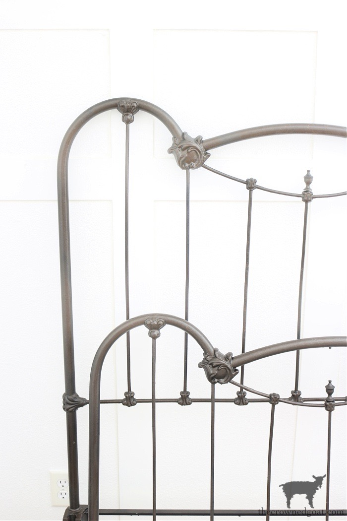 Antique-Bed-Spray-Painted-in-Flat-Chestnut-The-Crowned-Goat How to Add Patina to a Metal Bed DIY One_Room_Challenge