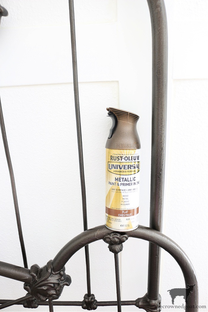 Flat-Chestnut-The-Crowned-Goat How to Add Patina to a Metal Bed DIY One_Room_Challenge