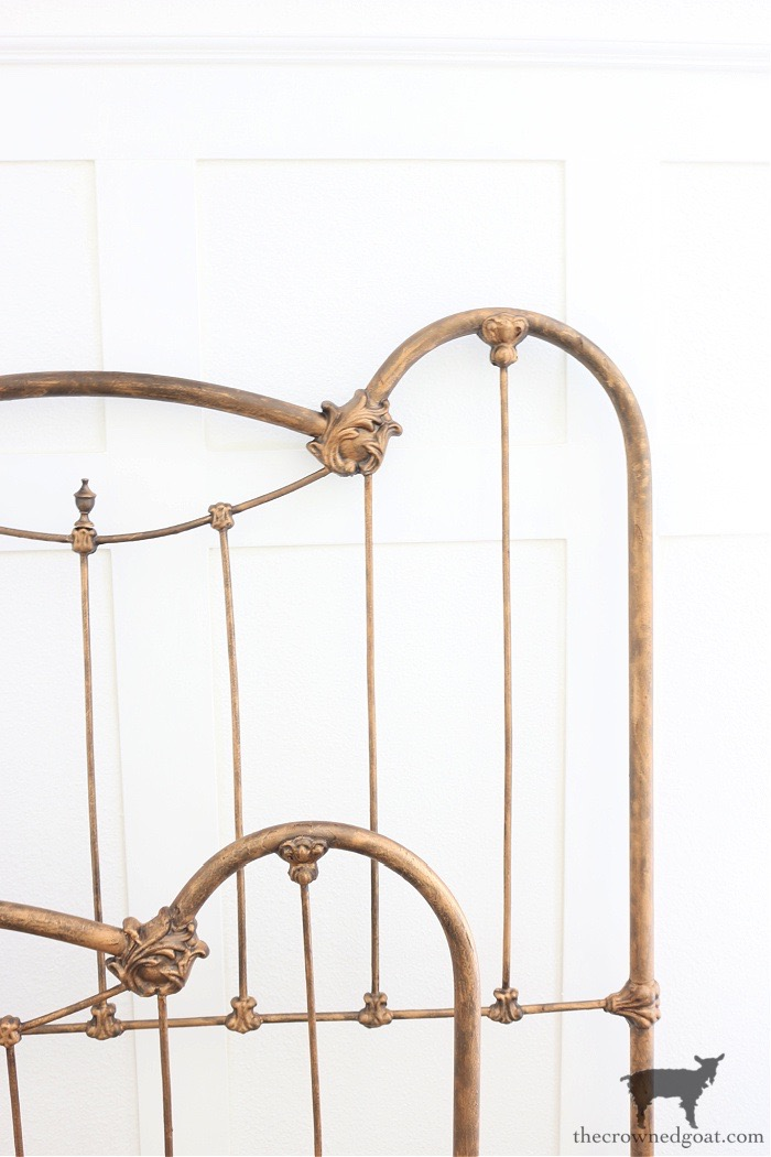 Rub-n-Buff-and-Dark-Wax-to-Add-Patina-to-a-Metal-Bed-Frame-The-Crowned-Goat How to Add Patina to a Metal Bed DIY One_Room_Challenge