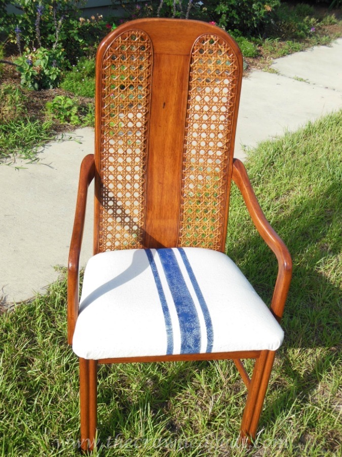 How to Paint Grain Sack Stripes on a Drop Cloth Covered Chair
