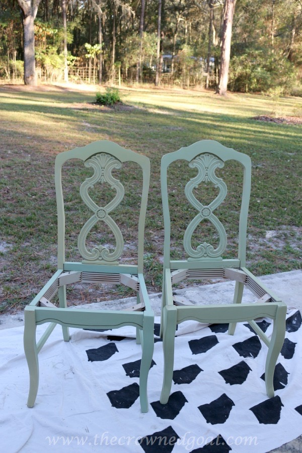 Lucketts Green Milk Painted Chairs - The Crowned Goat