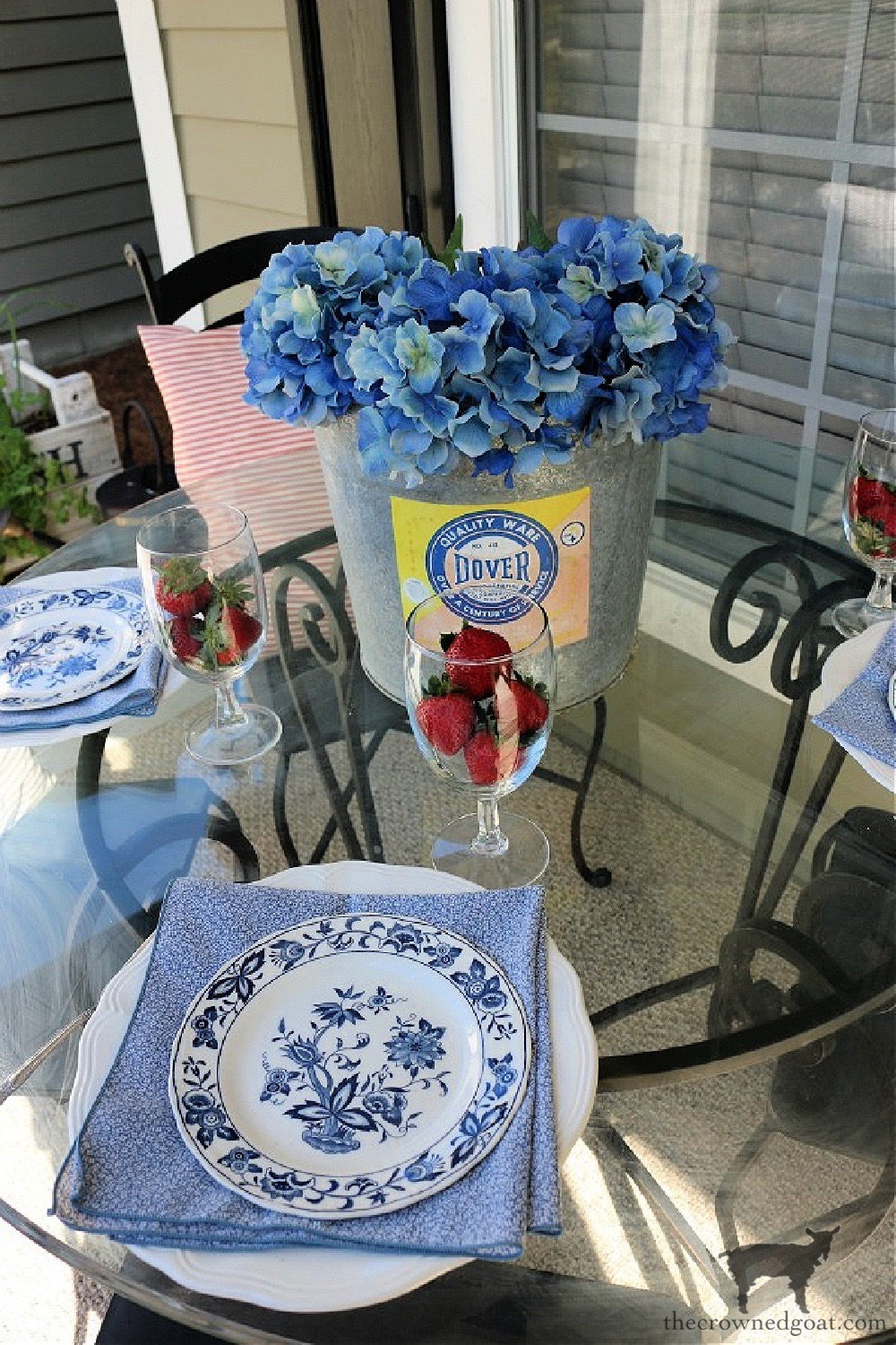 Blue and White Outdoor Tablescape-The Crowned Goat