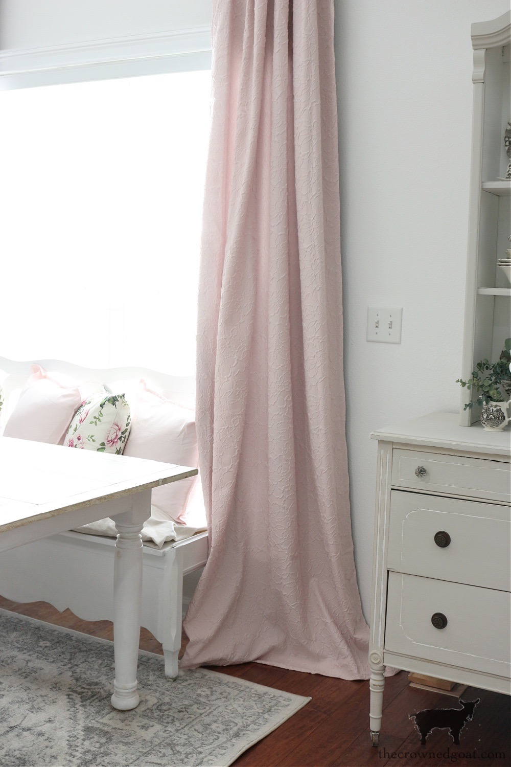 Pink Curtains in the Breakfast Nook-The Crowned Goat