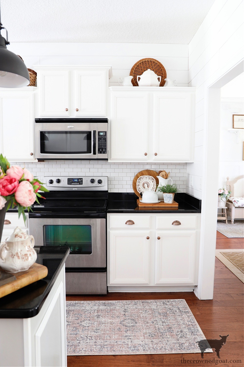How to Easily Change the Color of Existing Grout in a Cottage Style Kitchen-The Crowned Goat
