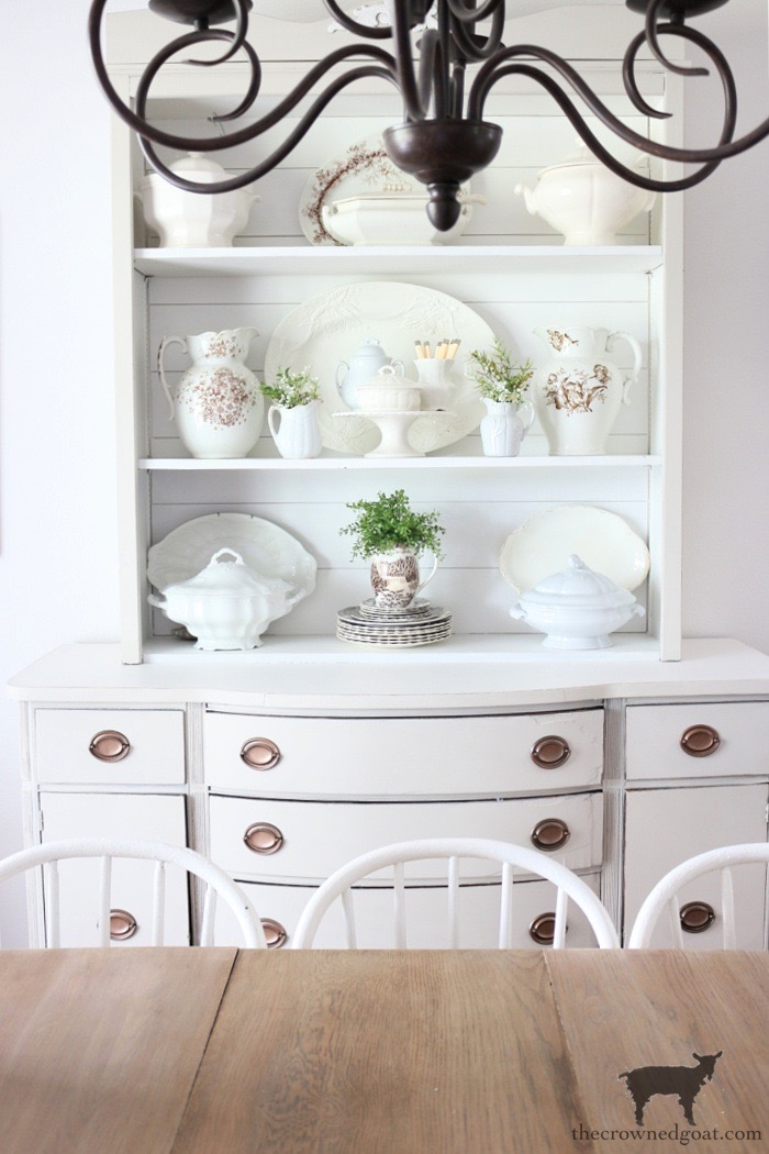 Simple Tips for Styling a Dining Room Hutch-The Crowned Goat