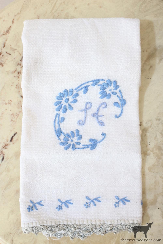 Vintage Monogrammed Hand Towel-The Crowned Goat