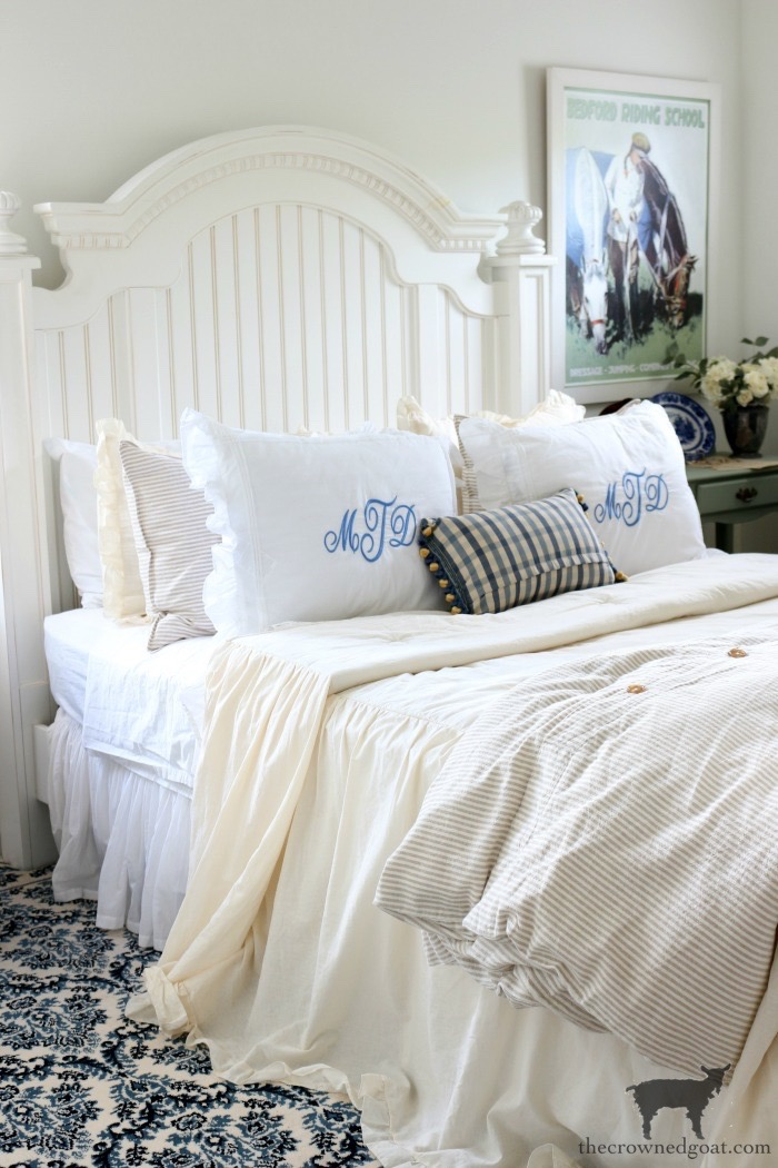 Blue and White Guest Bedroom Refresh