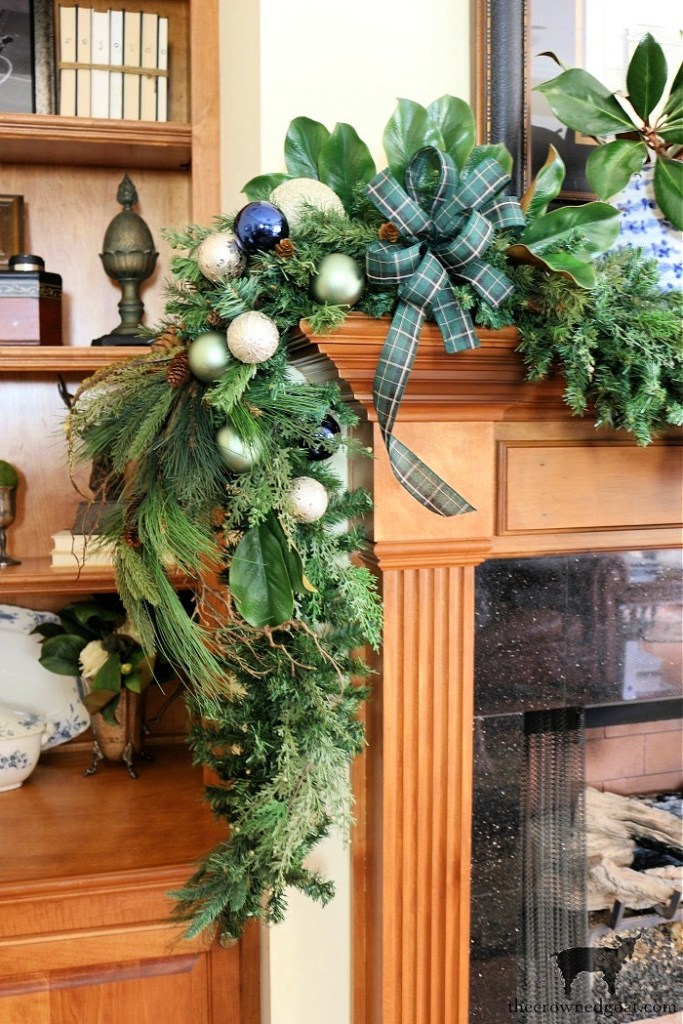 Blue and Green Christmas Mantel Inpsiration-The Crowned Goat