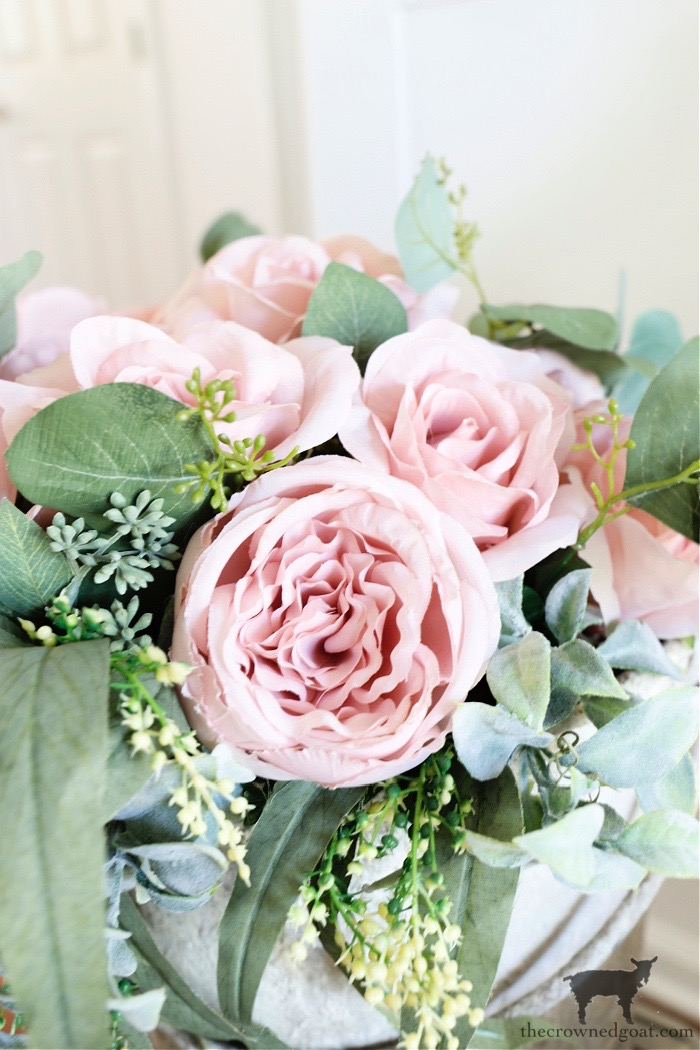 Spring to Summer Floral Arrangement with Pink Cabbage Roses - The Crowned Goat